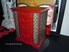 This jewelry box is hand painted in Emperors Silk Red with dark glazing, giving it a bit of rustic chic. It is solid wood and heavy made by