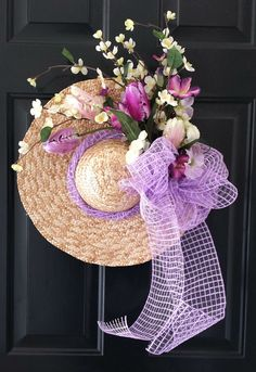 Easter Wreath Straw Hat Spring Wreath Lavender and Cream Floral Wreath with Lavender Deco Mesh Bow LIMITED EDITION