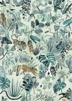 Watercolor jungle illustration and pattern by Monica Ramos. Tigers hidden among lush plants in shades of mint, olive and hunter green with pops of orange and black.