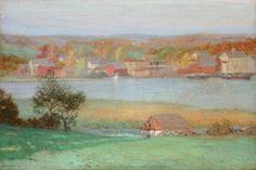 """Mianus River, Cos Cob, CT,"" Leonard Ochtman, oil on canvas, 24 x 36"", The Cooley Gallery."