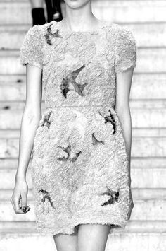 bird dress in black and white