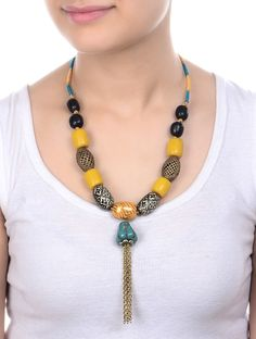 Buy Green Golden Yellow Ebonee Wood Ceramic Beads Necklace Amber Acrylic and Jewelry Fashion Beaded Beauty Colorful Online at Jaypore.com