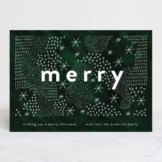 """Merry Abstract Pattern"" - Holiday Cards in Moss by Jackie Crawford."
