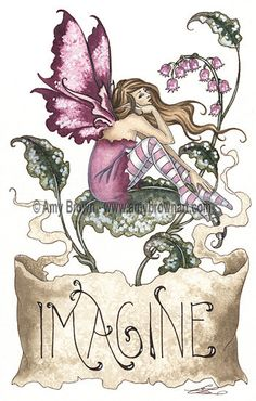 Amy Brown Imagine Print 8.5x11 open edition print, SIGNED. @14.00