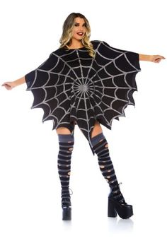 Black Glitter Spider Web Women's Poncho Costume Scary Couples Costumes, Mom Costumes, Vampire Costumes, Adult Costumes, Costumes For Women, Halloween Costumes, Beetlejuice Costume, Ladies Poncho, Faux Leather Leggings