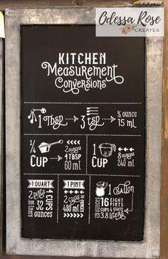 Measurement Chart Cooking, Kitchen Measurement Conversions, Kitchen Conversion, Kitchen Chalkboard, Chalkboard Signs, Kitchen Signs, Kitchen Art, Chalk It Up, Chalk Board
