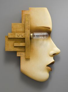 """John Morris: """"Light in the Absence of Eyes Illuminates Nothing"""" - Medium: Wood, projector lamp, paint, pencil Wood Sculpture, Wall Sculptures, Best Karaoke Machine, Projector Lamp, Wooden Lamp, Lamp Design, Wood Wall Art, Wood Carving, Amazing Art"""
