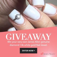 Enter the #Giveaway for a chance to win one of 10  #Amazing James Allen limited edition fine diamond and 14k white gold nail jewels!👉 Sign-up at: lushli.com/jamesallen  10 lucky winners will win the JamesAllen.com Nail Jewel, a limited edition fine diamond and 14k white gold nail accessory inspired by popular engagement rings from JamesAllen.com, the world's largest privately held online retailer of engagement rings and bridal jewelry. Last chance to enter is July 7th, 2015, at 11:59 PM PDT.