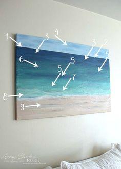 DIY Beach Painting - showing how I painted each color - artsychicksrule Beach Scene Painting, Sailboat Painting, Diy Painting, Painting Abstract, Beach Mural, Beach Artwork, Ocean Artwork, Image Clipart, Art Clipart