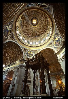 Baldachino, and Dome of Basilic Saint Peter. Vatican City by QT Luong...