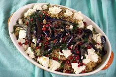 Emma's recipe for her Eggplant & Freekeh Salad Eggplant Dishes, Mayonnaise, Salad Dressing, Dressings, Grains, Salads, Vegetarian, Recipes, Food