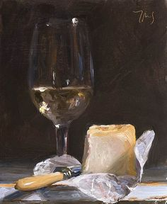 White wine and cheese A Daily painting by Julian Merrow-Smith