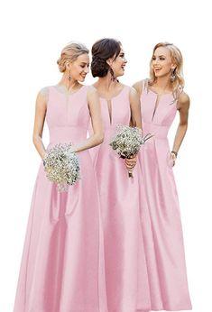 0e134f94c9e VinBridal Long V Neck Satin Prom Gown a Line Wedding Bridesmaid Dresses at  Amazon Women's Clothing