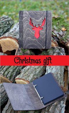 Christmas deer stag gift Wooden Notebook Black White paper Custom engraved…