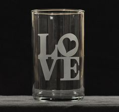 LOVE Custom Etched Flower Vase on Etsy, $15.00