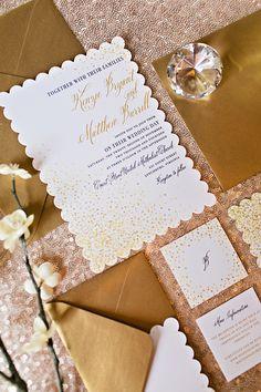gold wedding invitations | Megan Vaughan Photography | Glamour & Grace