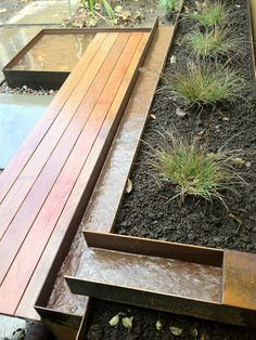 Wood, Steel, Stone by Pistils Landscape Design + Build Stone Water Features, Outdoor Water Features, Water Features In The Garden, Back Gardens, Outdoor Gardens, Landscape Architecture, Landscape Design, Landscape Elements, Backyard Water Feature