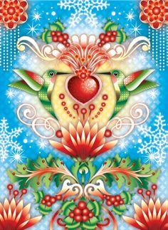 catalina estrada art | Catalina Estrada - Holiday Hummingbirds | Art: Catalina Estrada