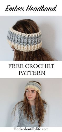 free crochet pattern headband headwrap diy do it yourself thick headband hooked on tilly life easy quick project winter fashion accessories womens Bandeau Crochet, Crochet Headband Free, Crochet Beanie, Knit Crochet, Crochet Hats, Crochet Headband Tutorial, Crochet Winter, Crochet Mittens, Crochet Dresses