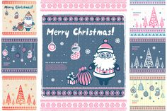 Check out Set of 7 Christmas illustrations by Transia on Creative Market