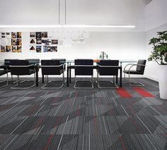 Interface | Modular Carpet Tile | Detours Onyx | CT111 Onyx | On Line Red in conference room / meeting room / large, public office. Red floor accents bring alertness to the space, while maintaining the professionalism.