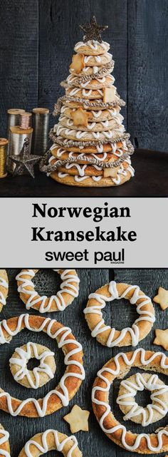 This is a Norwegian cake that is made every Christmas. Not only is it delicious but also quite impressive all stacked up. You can buy molds that makes it really easy or create the circles freehand.