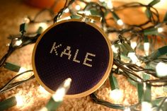 Kale Cross Stitch - Completed by CrossReferences on Etsy