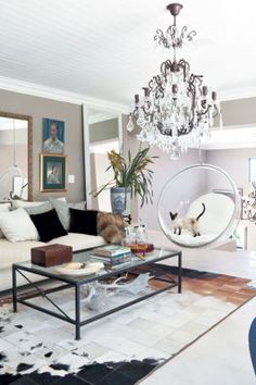 floating acrylic swing (with Siamese cat) Bubble Chair, Sweet Home, House Rooms, Home Decor Inspiration, Design Inspiration, Decor Ideas, Interiores Design, Home And Living, Living Room Furniture