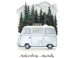 """VW Bus """"Adventure Awaits"""" Road Trip in the Mountains, Original Art Print : VW Bus Adventure Awaits Road Trip in the by HaileyCreative on Etsy Cactus Painting, Watercolor Cactus, Watercolor Paintings, Watercolours, Vw Bus, Bus Camper, Combi Hippie, Cactus Print, Abstract Photography"""