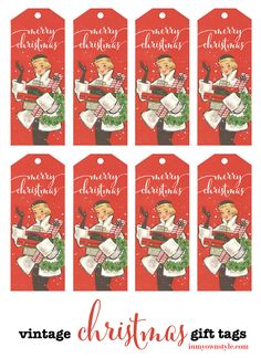 Free printable Christmas gift tags made from a very fashionable vintage Christmas card.  In My Own Style.com