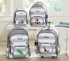 Fairfax Gray/White Stripe Backpacks #pbkids