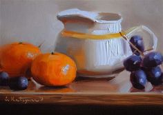 "Daily Paintworks - ""Pitcher, Grapes, and Tangerines"" - Original Fine Art for Sale - © Elena Katsyura"