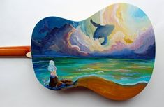 Custom order Guitar–Any design you can think of, hand painted onto a fully playable acoustic guitar – Guitar Ideas Acoustic Guitar Tattoo, Acoustic Guitar Case, Guitar Logo, Ukulele Art, Guitar Art, Easy Guitar, Guitar Tips, Painted Ukulele, Painted Guitars