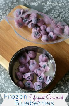 Frozen Yogurt Covered Blueberries - perfect for when you're craving something…