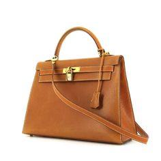 Hermes Kelly 32 cm handbag in gold Pecari leather