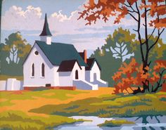 Paint by Number vintage  Church and landscape by ArtandBookShop, $15.00
