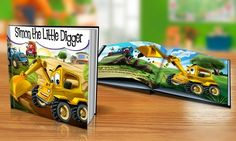Add a child's name to let them star in a storybook; topics range from world travel and farm animals to pirates and tractors