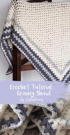 Crochet Tutorial - How to make a crochet granny stitch shawl Crochet Prayer Shawls, Crochet Shawl Free, Crochet Granny, Crochet Stitches, Crochet Mandala, Crochet Blankets, Crochet Home, Crochet Baby, Knit Crochet