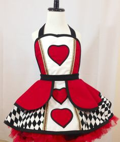 Child's Queen Of Hearts Pin Up Costume Apron Kid's