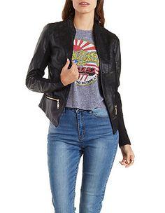 100394a67c9 Open Front Faux Leather Moto Jacket  Charlotte Russe Moto Jacket