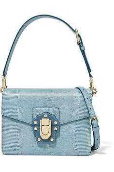 Dolce & Gabbana - Lucia Lizard-effect Leather Shoulder Bag - Light blue - one size