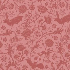 Bat Floral Pinks fabric by melpoemene on Spoonflower - custom fabric