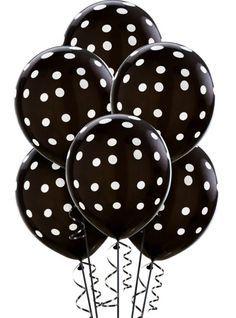 Latex Black Polka Dot Balloons 12in 6ct - Party City
