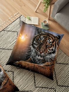 Achetez le design « The Tiger and the Magic Butterfly by GEN Z Les Oeuvres, Cushions, Butterfly, Magic, Throw Pillows, Artist, Artwork, Design, Toss Pillows