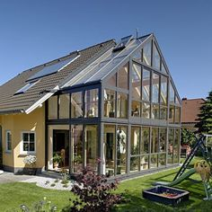 Greenhouse/ sunroom addition to house Greenhouse Attached To House, Home Greenhouse, Future House, My House, Earthship, House Extensions, Glass House, Winter Garden, My Dream Home