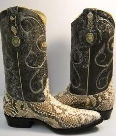 NEW white diamond PYTHON SNAKE SKIN cowboy boots *ALL SIZES bota vibora piton in Clothing, Shoes & Accessories, Men's Shoes, Boots | eBay