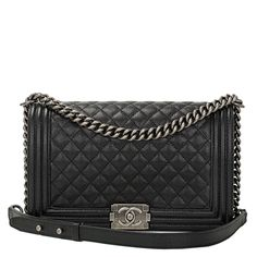 Chanel Black Caviar New Medium Boy Bag with Ruthenium Hardware | Madison Avenue Couture