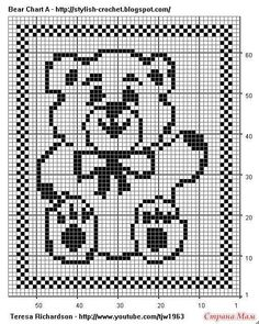 alice brans posted Free Filet Crochet Charts and Patterns: Filet Crochet Bear - Chart A to their -crochet ideas and tips- postboard via the Juxtapost bookmarklet. Filet Crochet Charts, Knitting Charts, Crochet Blanket Patterns, Baby Blanket Crochet, Baby Knitting Patterns, Crochet Stitches, Cross Stitch Patterns, Crochet Bear, Crochet Books
