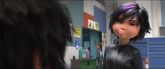 """Screencap Gallery for Big Hero 6 Bluray, Disney Classics). From Walt Disney Animation Studios, the team behind """"Frozen"""" and """"Wreck-It Ralph,"""" comes """"Big Hero an action-packed comedy-adventure about the special Big Hero 6, Pixar Movies, Disney Movies, Disney Pixar, X Men, Apocalypse, Asian Problems, Disneyland, Purple Hair Highlights"""