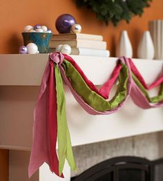 Use wire-edged ribbon in any hues you desire as an easy, beautiful way to dress up your mantel or windows for the holidays. #Christmas #decor #decorations #DIY #ribbon #mantel